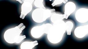Ampoules blanches brillantes de résumé tombant vers le bas et volant vers le haut sur le fond noir, concept d'idée animation illustration de vecteur