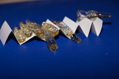 Ampoules. On blue background. sterile Stock Photo