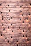 Ampoules décoratives sur le fond du mur en bois Images stock
