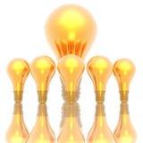 Ampoules d'or d'isolement en fonction Illustration Stock