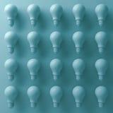 ampoules 3d sur le fond cyan avec la nuance et les ombres abstraites 3d rendent illustration stock