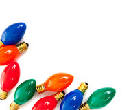 Ampoules de Noël sur le blanc Photographie stock