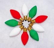 Ampoules de rouge, vertes et blanches en cercle Image stock