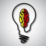 Ampoules et concept de cerveau Photographie stock libre de droits