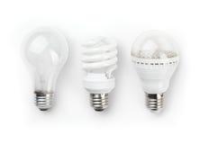 Ampoules fluorescentes et incandescentes de DEL photo stock