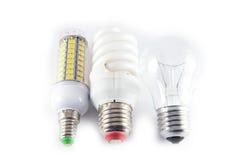 Ampoules menée, de néon et de tungstène avec des cases à cocher Photographie stock