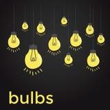 Ampoules nues accrochant sur des ficelles Images libres de droits