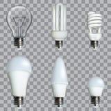 Ampoules réalistes de photo les différentes dans le vecteur editable composent illustration 3D Image stock
