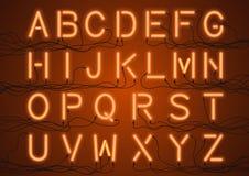 Ampoules rougeoyantes de lampe au néon avec des fils reliés Photo libre de droits