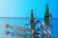 Ampoules and syringe Royalty Free Stock Images