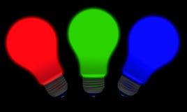 Ampoules vert-bleu rouges Images libres de droits