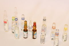 Ampoules. Vials containing pharmaceuticals for injection, standing upright. Top View Royalty Free Stock Images