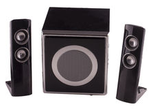 Amps. Amp kit with three black amplifiers, isolated over white stock photography