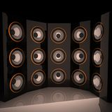 Amps. In semicircle, 3d render, square image Stock Photography