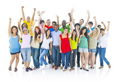Ampuła grupuje rozochoconych ludzi Ufnego Uśmiechniętego pojęcia Zdjęcie Stock