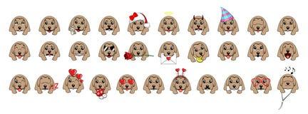Ampuła ustawiająca głowy mali psy z różnymi emocjami i różnymi przedmiotami ilustracji