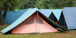 Ampuła zielenieje namioty w okazyjnym campingu Zdjęcia Royalty Free
