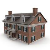 Ampuły dwa opowieści rocznika kolonisty stylu dom na bielu ilustracja 3 d obraz stock