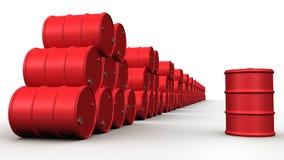 Ampuły grupa czerwone nafciane baryłki Fotografia Stock