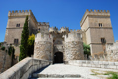 Ampudia castle. Fifteenth century medieval fortress, Ampudia. Spain Stock Photography