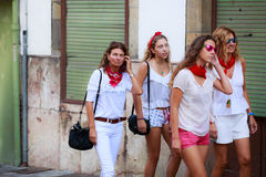 AMPUERO, SPAIN - SEPTEMBER 10: Unidentified group women just before the Bull Run on the street during festival in Ampuero, celebra Royalty Free Stock Images