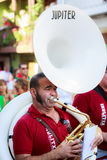 AMPUERO, SPAIN - SEPTEMBER 10: Unidentified musician with a sousaphone before the Bull Run on the street during festival in Ampuer Stock Image