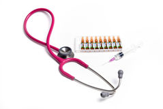 Ampule syringe and stethoscope Stock Photos