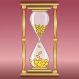 Ampulheta com dinheiro Imagens de Stock