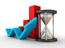 Ampulheta com gráfico de barra crescente e aumentar a seta Fotografia de Stock Royalty Free