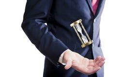 Ampulheta, conceito do tempo com homem de negócios Imagens de Stock Royalty Free