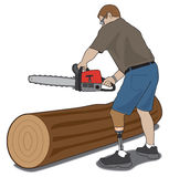 Amputee with chainsaw Royalty Free Stock Images