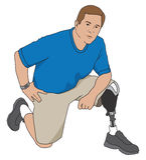 Amputee Kneeling. Male left leg amputee kneeling on floor Royalty Free Stock Photography