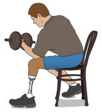 Amputee Lifting Weight Stock Images