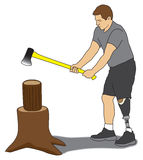 Amputee Splitting Wood. Leg amputee splitting firewood with axe Stock Image