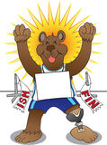 Amputee Track Bear. Happy amputee bear ecstatic that he has finished a race in first place Stock Photos