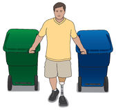 Amputee With Trash Cans Royalty Free Stock Photography
