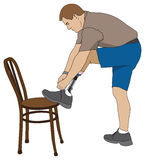 Amputee Tying Shoe. Left leg amputee using chair to tie his shoe Royalty Free Stock Photography