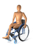 Amputee in wheel chair. Amputee sitting in wheel chair on white background Royalty Free Stock Images