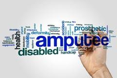 Amputiertwort-Wolkenkonzept auf grauem Hintergrund Lizenzfreies Stockfoto