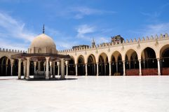 Amr ibn al-As Mosque in Cairo, Egypt. The Mosque of Amr ibn al-As, also called the Mosque of Amr, was originally built in 642 AD, as the center of the newly Stock Images
