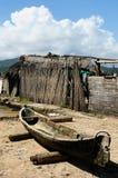 América Central, Panamá, casa tradicional do barco do arquipélago de San Blas Fotos de Stock Royalty Free