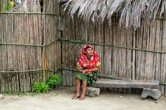 América Central, Panamá, pessoa tradicional de Kuna Fotografia de Stock