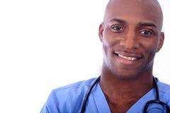 非洲amrican男性护士 免版税图库摄影