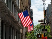 Amrican flags or usa. In manhattan new york city USA royalty free stock images
