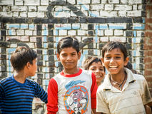 Amroha, Uttar Pradesh, INDIA - 2011: Indian children of slams smilimg Royalty Free Stock Image