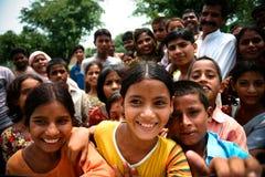 Amroha, Utter Pradesh, INDIA - 2011: Unidentified poor people living in slum. Smiling children Stock Photo