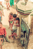 Amroha, Utter Pradesh, INDIA - 2011: Unidentified poor people living in slum Stock Image