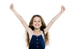 Amrs felizes bem sucedidos da menina levantados Fotografia de Stock Royalty Free
