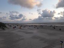 Amrum beach chairs stock photography