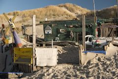 Beach Huts and other Objects out of Flotsam and Jetsam. AMRUM, GERMANY - JANUARY 02, 2018: On the Kniepsand Beach of  the North Frisian Island Amrum in Germany Stock Images